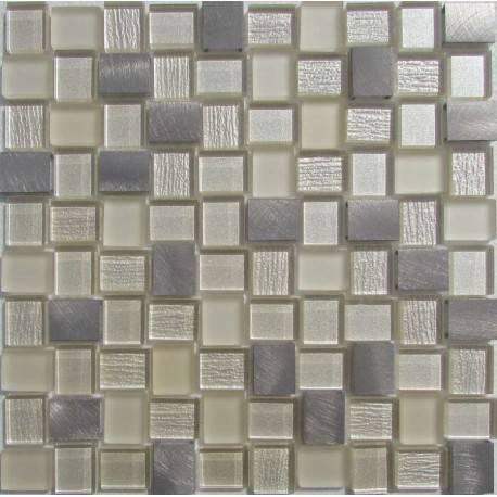 LIYA Mosaic YDB302 микс стеклянной и алюминиевой плитки-мозаики