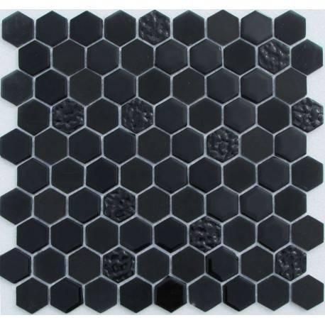 LIYA Mosaic Hexagon Black Glass микс стеклянной и каменной плитки-мозаики