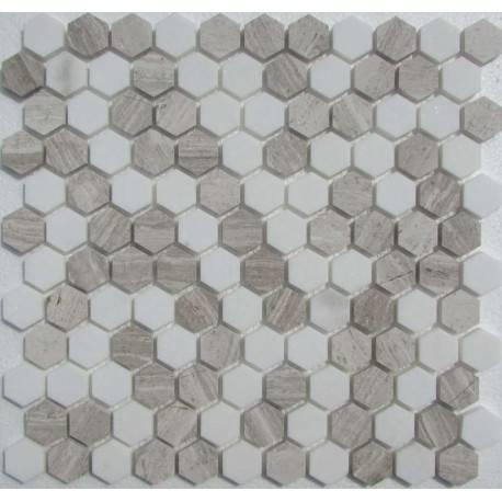 FK Marble Hexagon White Grey каменная плитка-мозаика