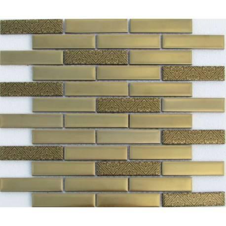 LIYA Mosaic Stripes Matt Gold 23*98 стеклянная плитка-мозаика