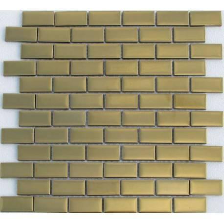 LIYA Mosaic Stripes Matt Gold 23*48 стеклянная плитка-мозаика
