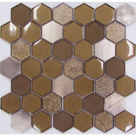LIYA Mosaic Hexagon Brown Metal микс стеклянной и алюминиевой плитки-мозаики