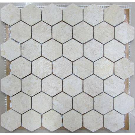 FK Marble Hexagon Travertine 48 плитка-мозаика из травертина
