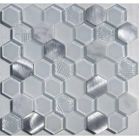 LIYA Mosaic Hexagon White Metal микс стеклянной и алюминиевой плитки-мозаики