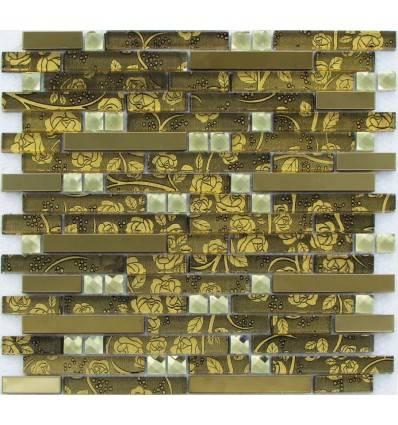 LIYA Mosaic H5421 микс стеклянной и металлической плитки-мозаики