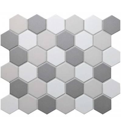 LIYA Mosaic Porcelain Hexagon Mix Grey 51 мозаика керамическая