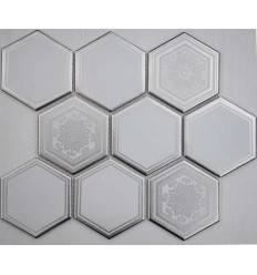 LIYA Mosaic Porcelain Hexagon Carrara Decor 95 мозаика керамическая