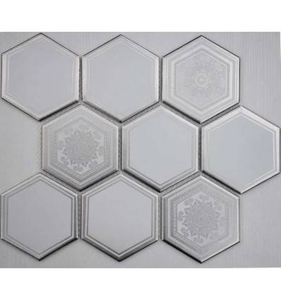 LIYA Mosaic Porcelain Hexagon Carrara Decor 95 мозаика керамическая