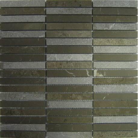 FK Marble Mix Olive Pearl 15*100 каменная плитка-мозаика
