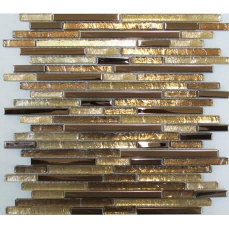 LIYA Mosaic H5414 микс стеклянной и металлической плитки-мозаики
