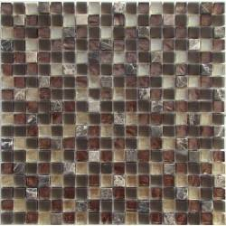 LIYA Mosaic Bronze Emperador микс стеклянной и каменной плитки-мозаики