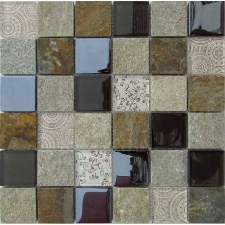 LIYA Mosaic Elements Beige микс стеклянной и каменной плитки-мозаики