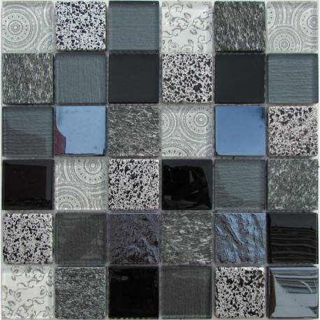 LIYA Mosaic Elements Black микс стеклянной и каменной плитки-мозаики