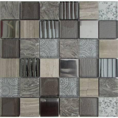 LIYA Mosaic Elements Grey микс стеклянной и каменной плитки-мозаики