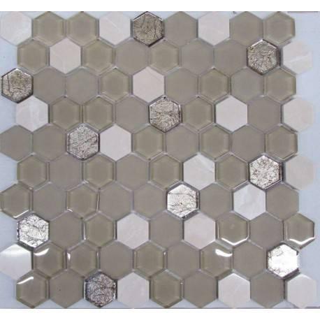 LIYA Mosaic Hexagon Beige Glass микс стеклянной и каменной плитки-мозаики