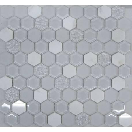 LIYA Mosaic Hexagon White Glass микс стеклянной и каменной плитки-мозаики